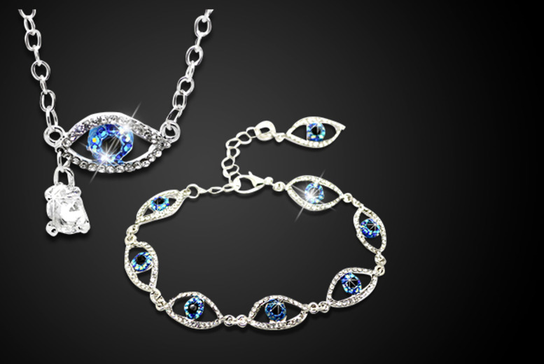 £10 instead of £40 (from Cian Jewels) for a dazzling crystal eye bracelet or necklace, or £15 for both - save up to 75%