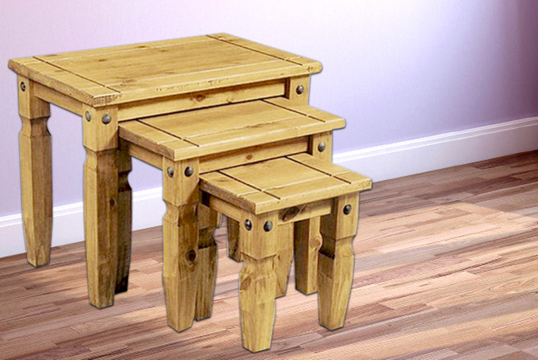 £49 instead of £120 (from Fishoom) for a 3-piece nest of pine tables - save 59%