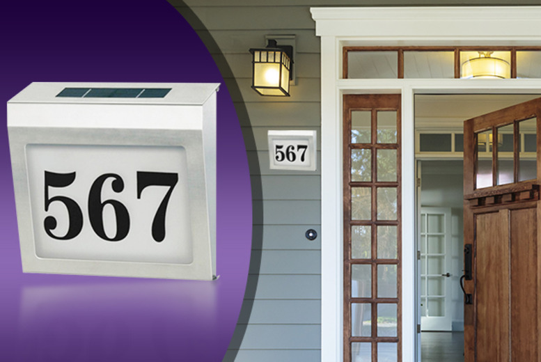 £13.99 instead of £39.99 (from LEDLive) for a solar-powered LED house number sign – save 65%