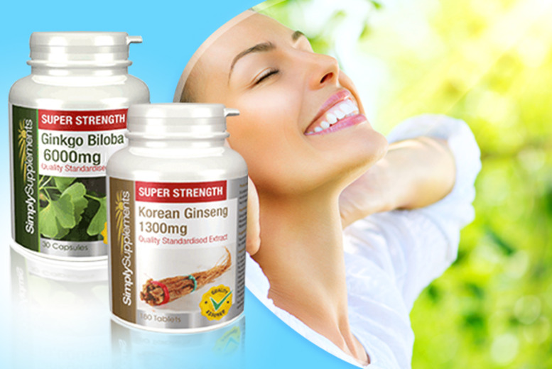 £10 instead of £23.78 (from Simply Supplements) for a 1-year supply* of Ginkgo Biloba and Korean Ginseng supplements - save 58% + DELIVERY INCLUDED