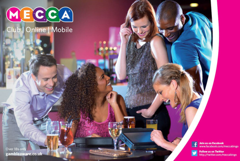 £7.77 for a bingo session for 2 inc. a sharing platter, drink and a free game of bingo each at Mecca Bingo, across 15 locations!