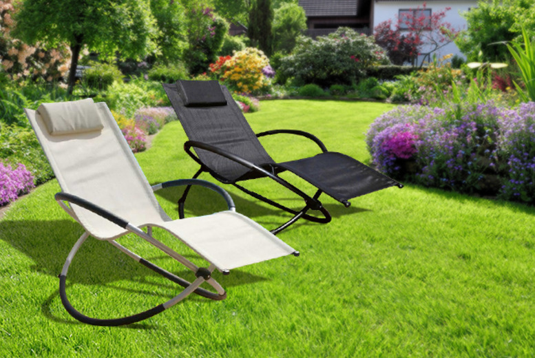 £59.99 instead of £149.99 for a 'Moon Rocker' sun lounger in black or cream from Wowcher Direct - save 60%