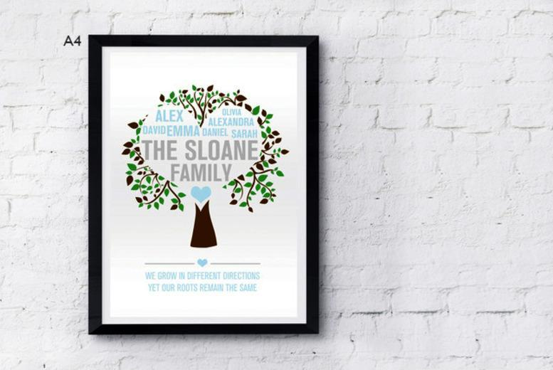 £6 instead of £14 (from Prints with Feelings) for an A4 personalised family tree print, or £13 for a framed print - save up to 57%