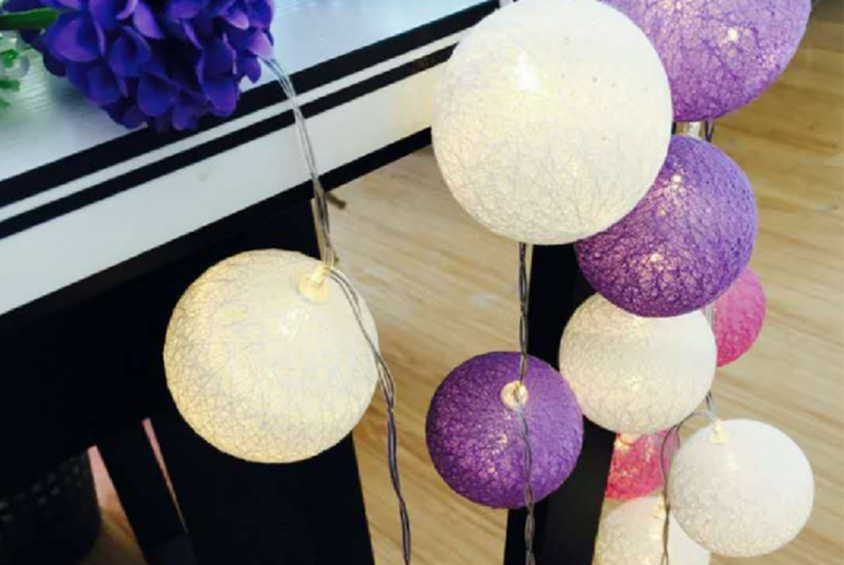 Image of 20M Cotton Ball String Lights | Grey | Living Social