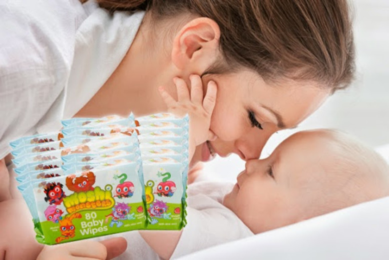 £7.99 instead of £10.65 for 12 packs of Moshi Monsters aloe vera baby wipes from Wowcher Direct - save 25%