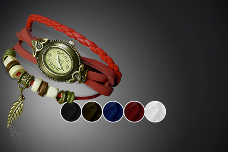 £8 instead of £45 (from Cerichic) for a vintage leather wraparound bracelet watch in a choice of 2 designs - save 82%