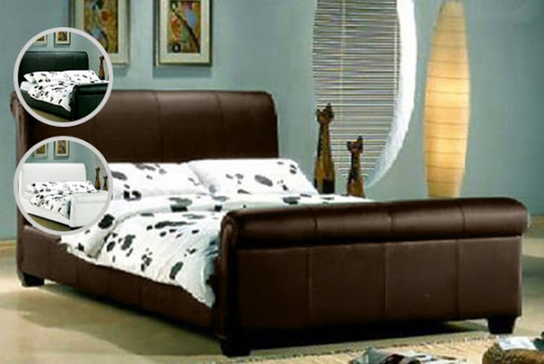 £120 for a designer Oakdale sleigh faux leather double bed, £140 for a king-size from Wowcher Direct