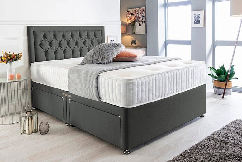 Image of Charcoal Suede Divan Bed Set | Small | Living Social