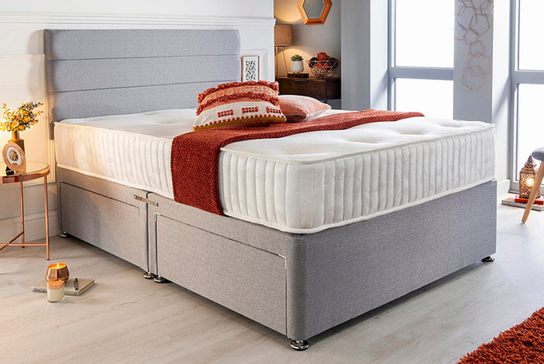 Image of Grey Linen Divan Bed & Mattress | Small | Living Social
