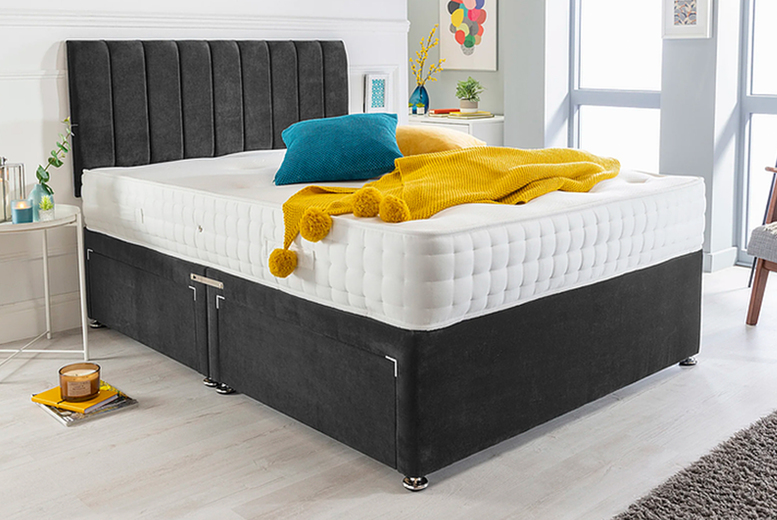 Image of Black Suede Divan Bed Set | Small | Living Social