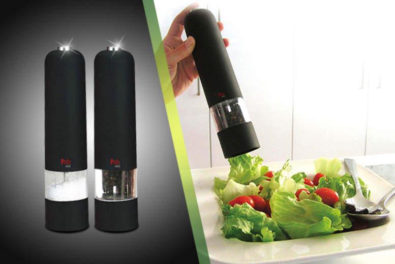 £12 instead of £33.99 (from Mooch UK) for a set of Pro Chef electric salt and pepper grinders - save 66%