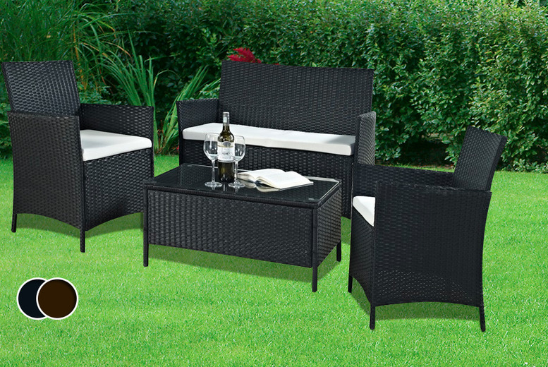 £199 instead of £695 (from Real Home Furniture) for a 4-piece rattan garden furniture set inc. coffee table, sofa and 2 chairs - save 71%