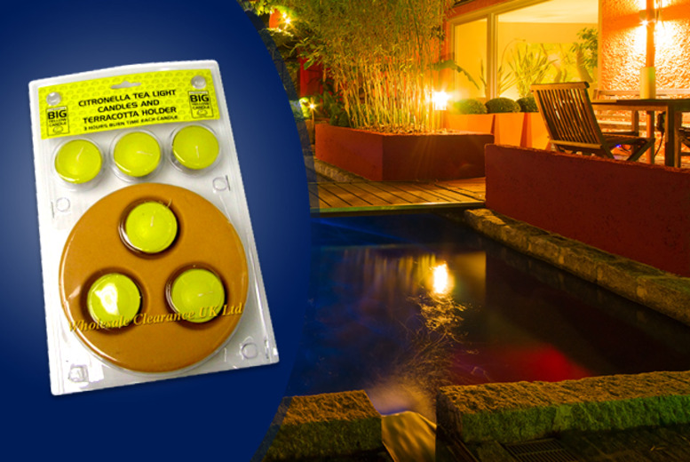 £3.99 for 6 mosquito-repelling citronella candles with terracotta holder, £6.99 for 2x packs of six from Wowcher Direct