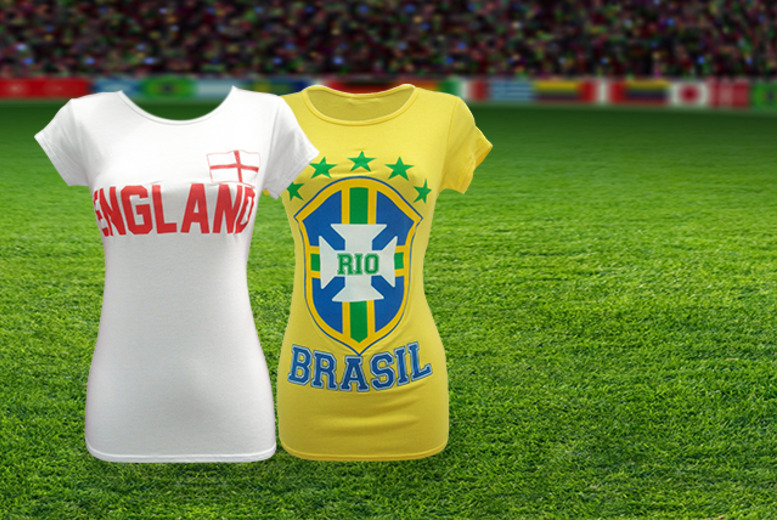 £6.99 (from Top Notch Fashion) for a ladies England St George's Cross or Brazil T-shirt, or £19.99 for a bundle for World Cup supporters - save up to 65%