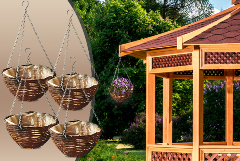 £7.99 for a set of four rattan hanging baskets from Wowcher Direct!