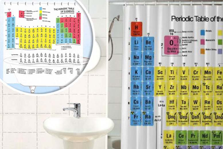 £9.99 instead of £27.95 (from Unusual Giftz) for a periodic table shower curtain - save 64%