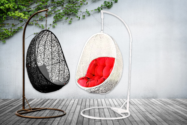 £139 instead of £345 (from Real Home Furniture) for a rattan hanging pod chair in black or white - save 60%