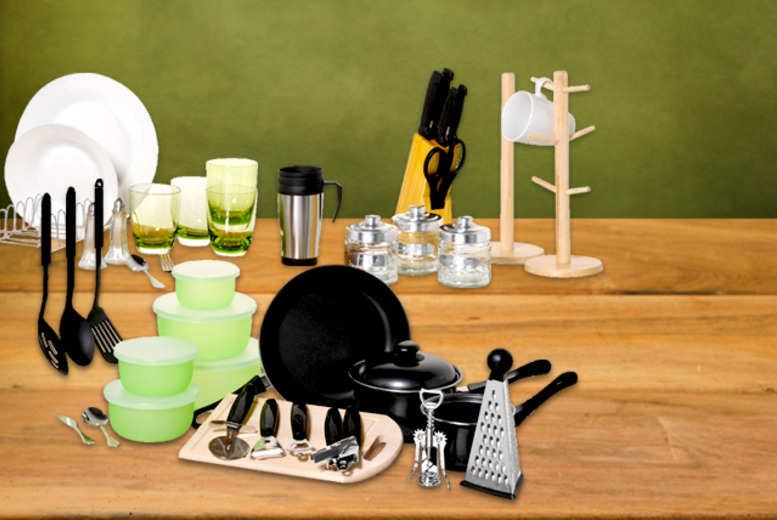 £49.99 for a 64-piece home starter pack inc. pans, cutlery, Tupperware & more