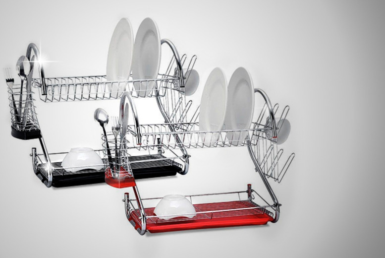 £9 instead of £36 (from Groundlevel) for a modern two-tier dish drainer with a black or red under-tray - save 75%