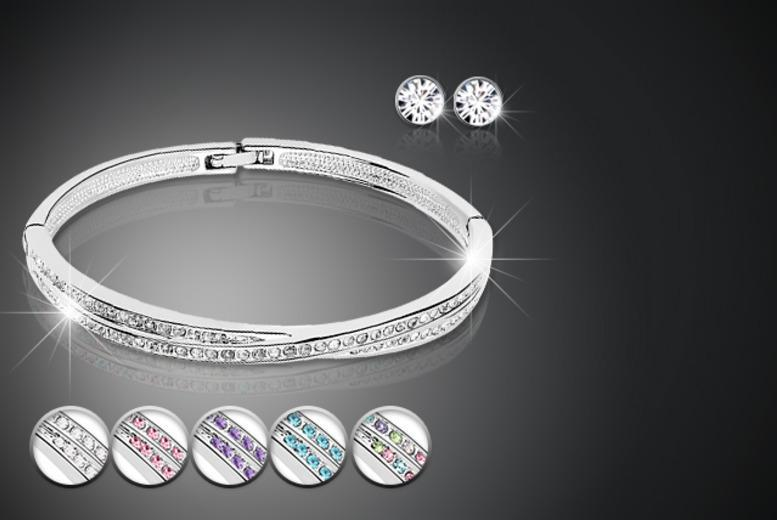 £10 instead of £54 (from Simply Jewellery) for a silver-plated cuff bangle and stud earring set made with Swarovski Elements - save a sparkly 81%