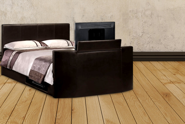luxury king size tv bed storage shop wowcher. Black Bedroom Furniture Sets. Home Design Ideas