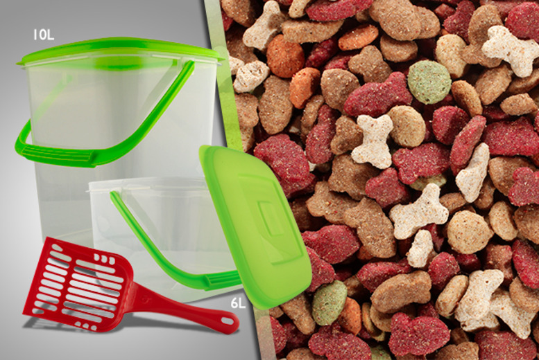 £9.99 for a 3-piece pet food storage kit including a 10-litre storage tub, 6-litre storage tub and a scoop from Wowcher Direct