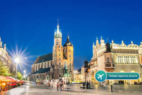 From £139pp (with Tour Center) for a two-night 5* Krakow stay with breakfast, return flights and Auschwitz tour option - save up to 40%