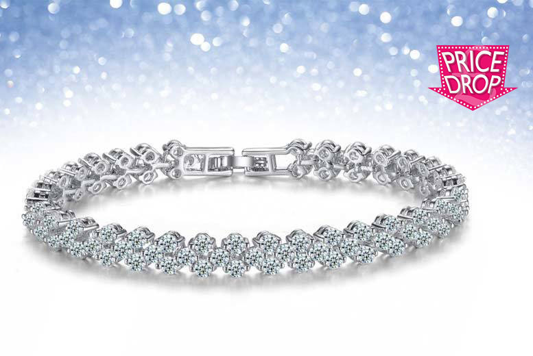 £22 instead of £349 (from Your Ideal Gift) for a multi-link white-gold plated simulated sapphire bracelet - treat that special someone and save 94%