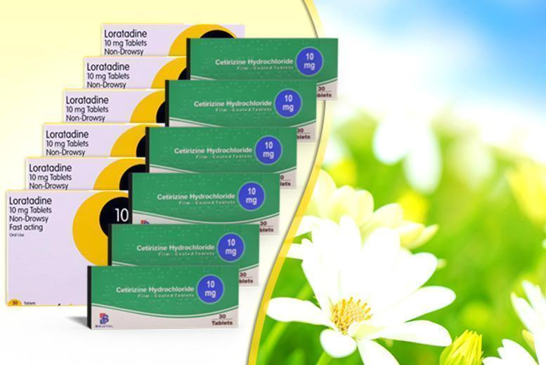 £4.99 for a 6-month* supply of Cetirizine or Loratadine hayfever tablets - save up to 90%