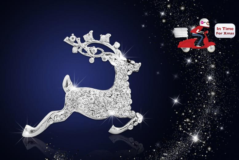 £7 instead of £59 (from Your Ideal Gift) for a reindeer brooch made with crystals from Swarovski - save 88%