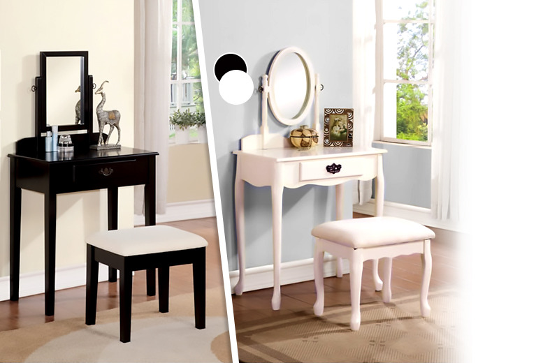 £89.95 instead of £199 (from Mattress Shed) for a contemporary or antique-style dressing table inc. matching mirror and stool - save 55%
