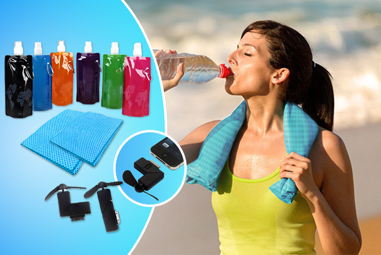 £14.99 (from 121 Mart) for a travel cooling bundle inc. a portable dock fan for iPhone 4s, 2x cooling towels & folding water bottle - save 73%