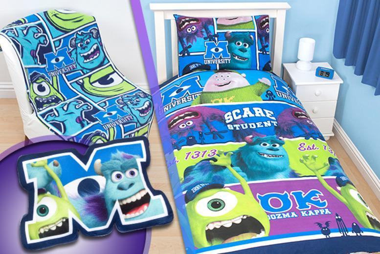 £11 for a Monsters University bedroom bundle inc. duvet cover, pillowcase, fleece blanket & cushion from from Wowcher Direct - save up to 70%