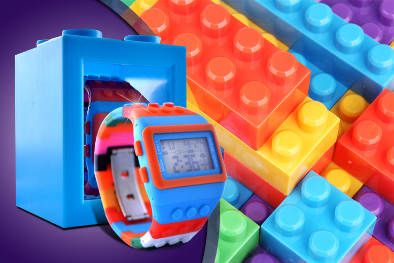£9.99 instead of £24.95 (from Hungry Bazaar) for a building brick watch with adjustable strap, stopwatch and alarm - save 60%