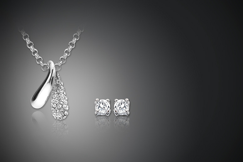 £12 instead of £100 (from Zoo Jewellery) for an 18k white gold plated teardrop necklace and earrings set made with Swarovski Elements - save 88%