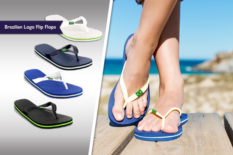 £7.99 instead of £16 (from Shubox) for a pair of women's or men's Brazilian logo flip flops - save 50%