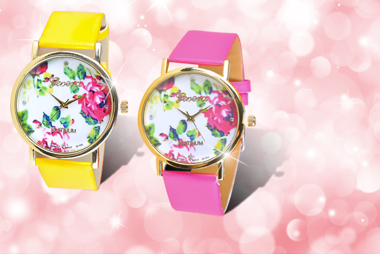 £8 instead of £34 (from Elle and Be) for a floral summer watch made with Swarovski Elements - save 76%