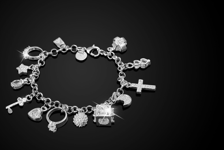 £9 instead of £86 (from Alvi's Fashion) for a 925 sterling silver-plated charm bracelet with 13 charms - save a stunning 90%