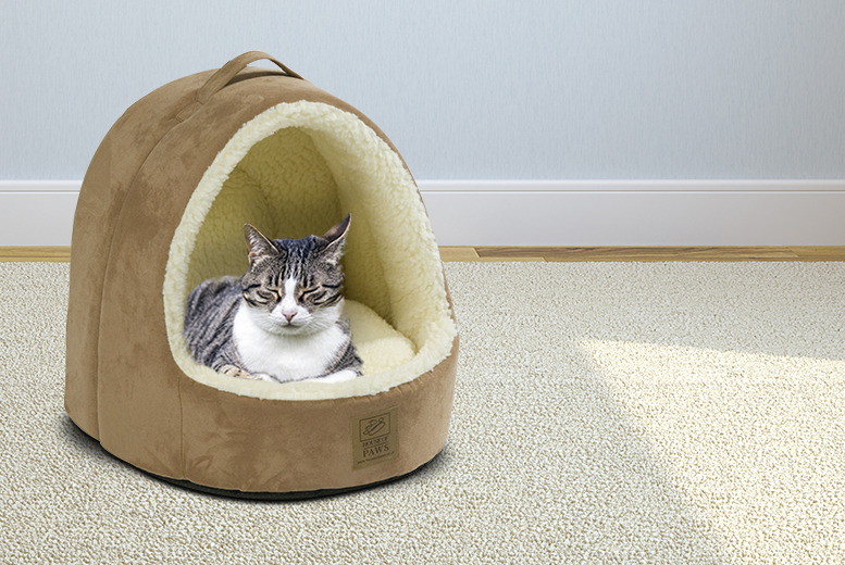 £14.99 instead of £28.99 (from House of Paws) for a luxury faux suede hooded cat bed - save a purrrfect 48%!