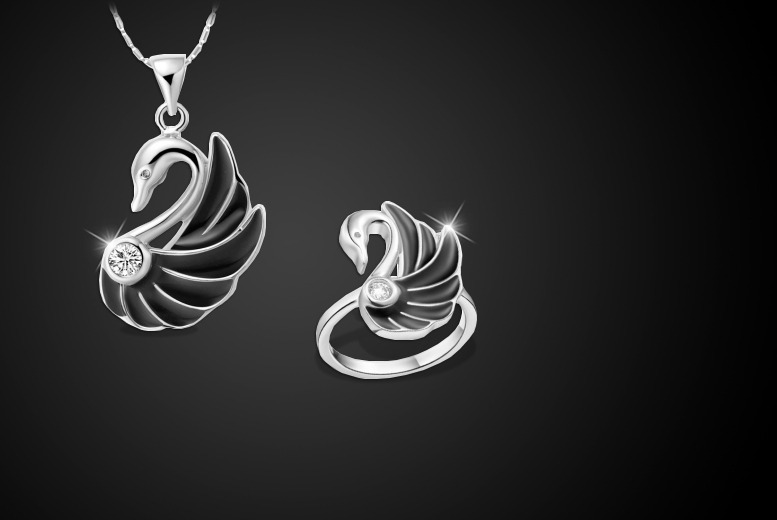 £12 instead of £60 (from Cian Jewels) for a matching swan necklace and ring made with Swarovski Elements - save 80%