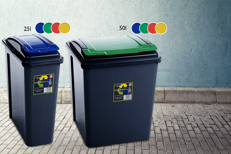 £9 (from BP Sales Direct) for a 25l recycling bin, £12 for 50l, £19.99 for 3 x 25l, £24.99 for 4 x 25l – save up to 40%