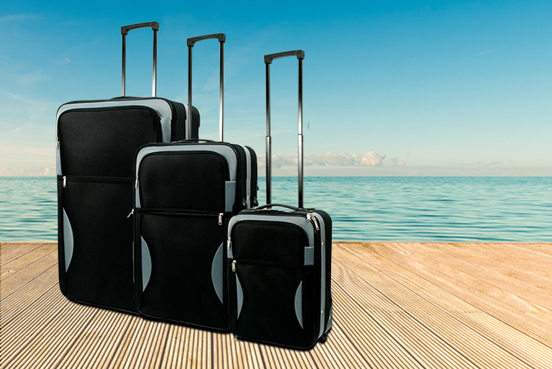 £65.99 (from Groundlevel.co.uk) for a smart 3-piece luggage set with grey or light blue trim – save 56%