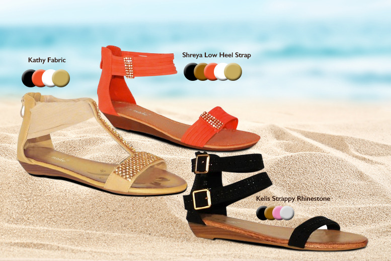 £7.99 instead of £19.99 (from By Public Demand) for a pair of women's low wedge sandals in a choice of 6 styles, £14.99 for 2 pairs - save up to 60%