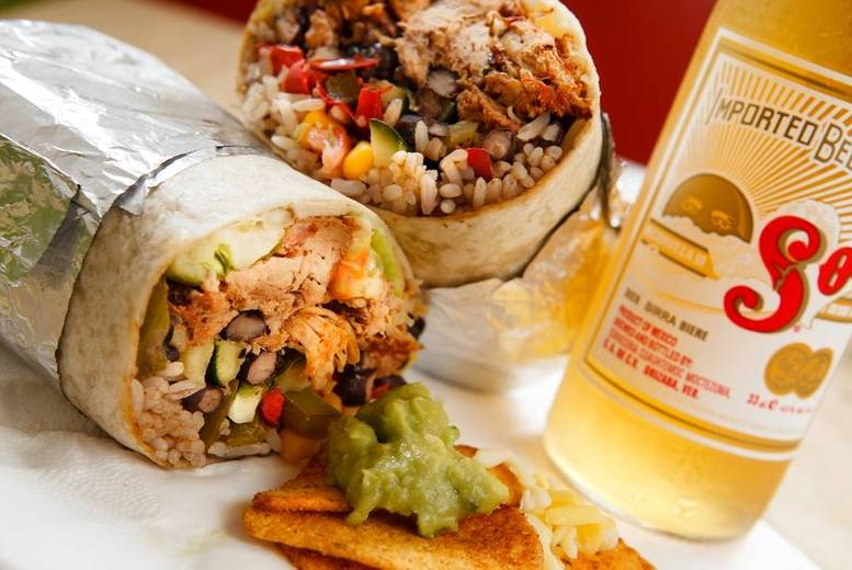 £8 instead of up to £16.55 for a burrito meal inc. a Sol beer, churros and a hot drink, £16 for 2 people at Burrito Café - save up to 52%
