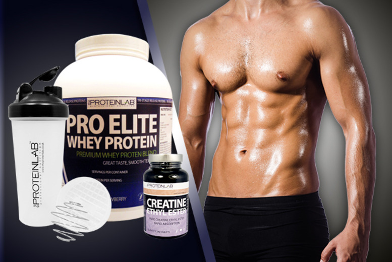 £39 instead of £99.98 for a 28-day* supply of Pro Elite Whey Protein with shaker & 240 creatine supplements - save 61%