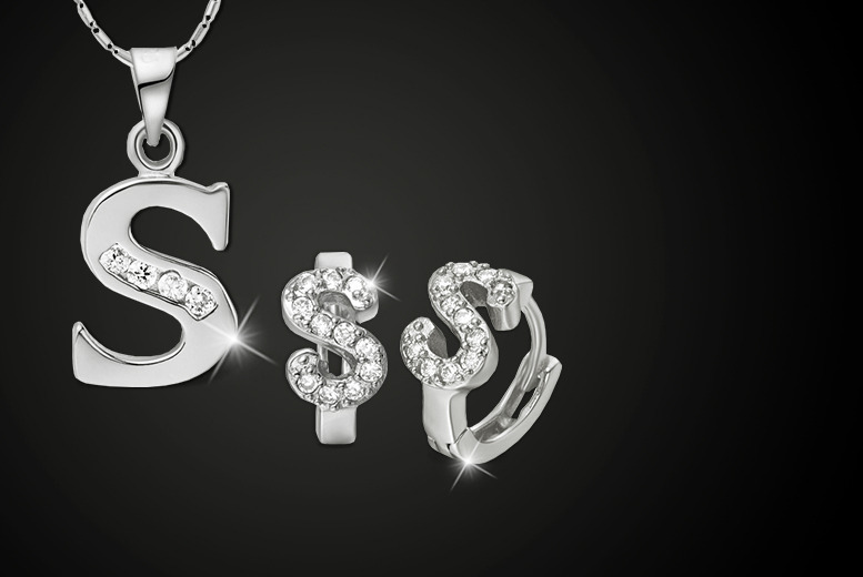 £12 instead of £60 (from Cian Jewels) for a personalised initial necklace and earrings set made with Swarovski Elements - save 80%