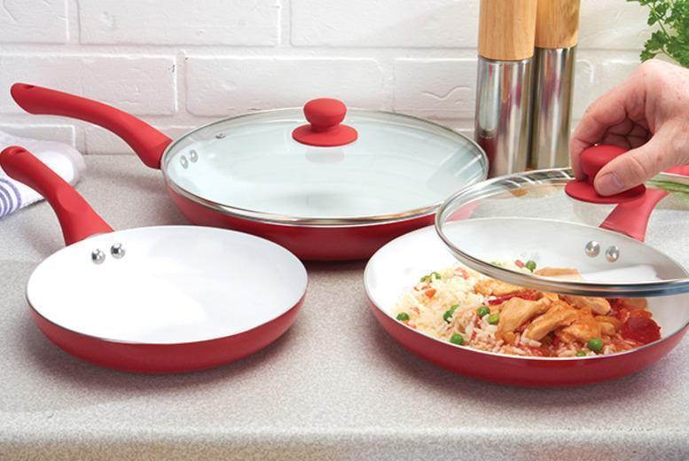 £19.99 instead of £129.99 (from Jean Patrique) for a 5-piece non-stick ceramic pan set in a choice of 3 colours - save a sizzling 85%