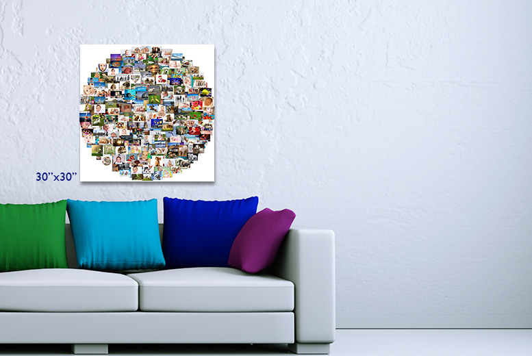 From £11 for a personalised photo collage canvas with a heart, landscape or circle-shaped design - save up to 76%