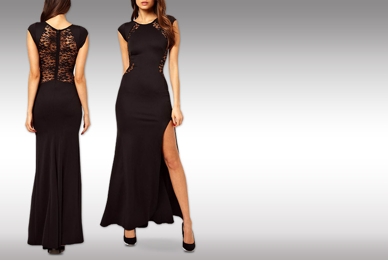 £12 instead of £41 (from Bluebell Retail) for a lace back long evening fashion dress in red or black - save 73%