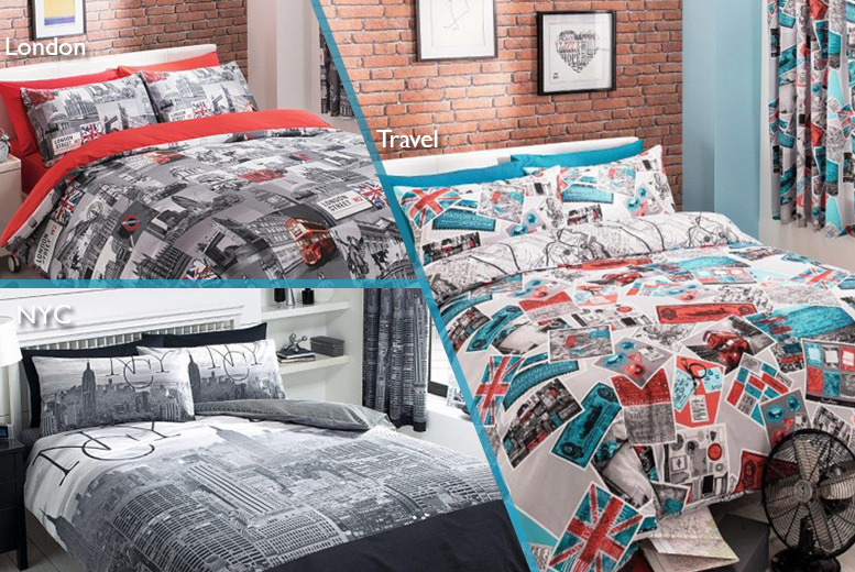 £10 (from Your Essential Store) for a single city-themed duvet cover, £12 for a double, £14 for a king or £17 for a super king - save up to 75%